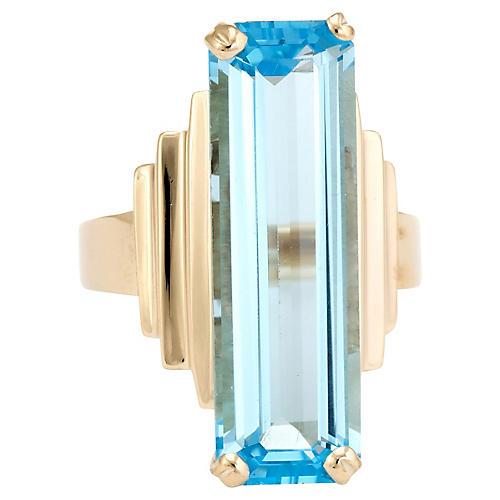 14K Gold & Blue Topaz Cocktail Ring