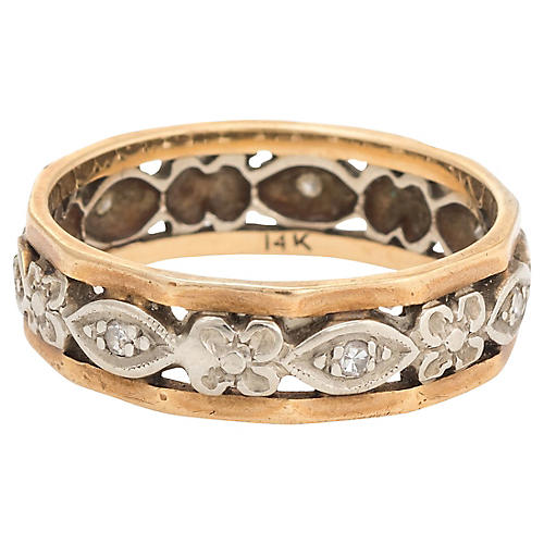 2-Tone Gold & Diamond Wedding Band