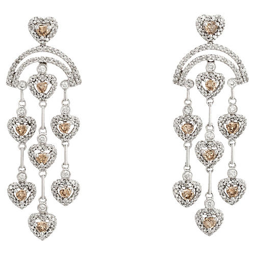 Diamond Heart Chandelier Earrings