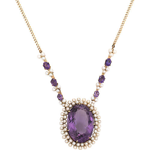 14K Gold, Amethyst & Seed Pearl Necklace