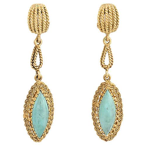 Turquoise Drop Earrings 22k Gold