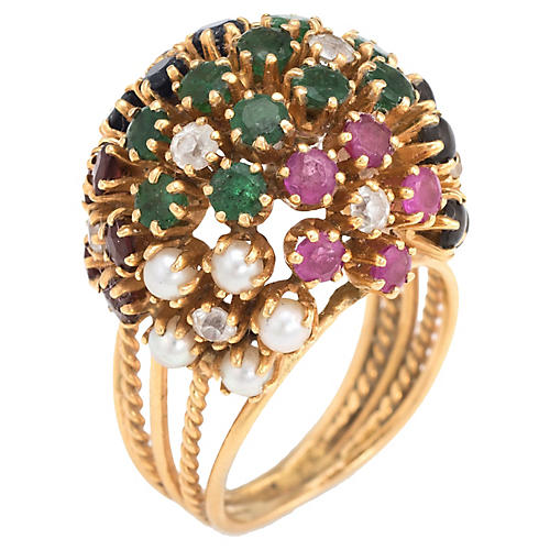 Gemstone Dome Cocktail Ring