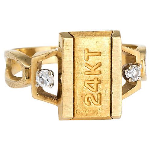 24K Gold Bar & Diamond Ring, C. 1970