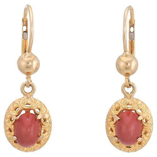 Red Coral Drop Earrings 18k Oval