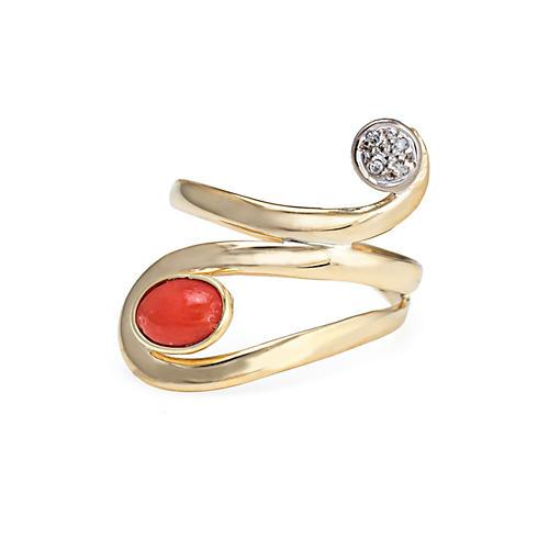 18K Coral Diamond Ring