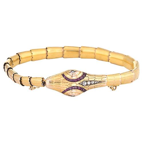 Antique Edwardian Snake Bracelet 18k