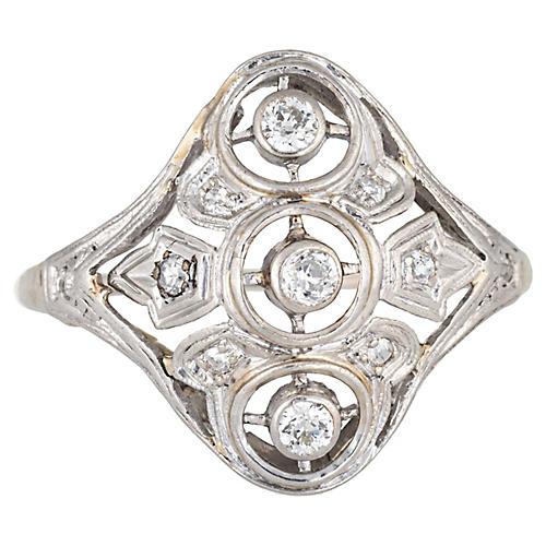 Art Deco 3 Diamond Ring 14k Gold