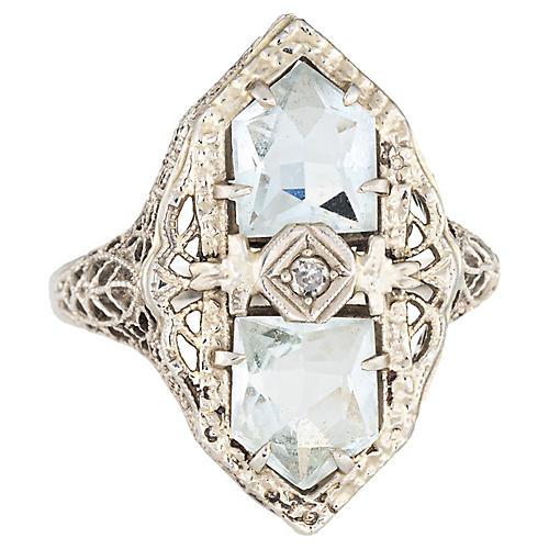 Antique Deco Aquamarine Diamond Ring
