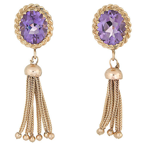 14K Oval Amethyst Tassel Earrings