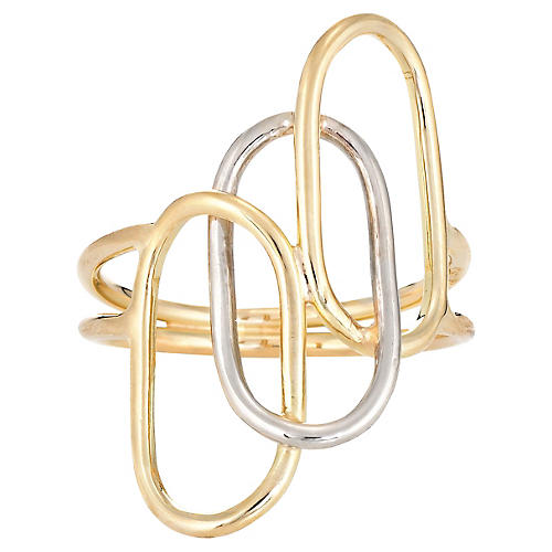 18K Two-Tone Oval Circles Ring