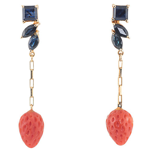 Sapphire Red Coral Strawberry Earrings
