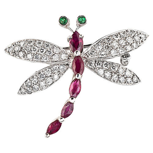 Dragonfly Gemstone Diamond Brooch