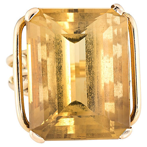 Large Citrine Cocktail Ring 14k Gold