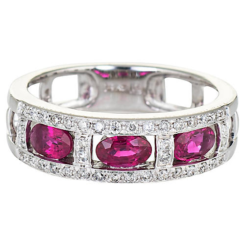 3 Ruby Diamond Band 14k White Gold