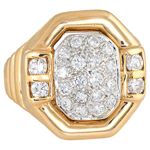 Square Pave Diamond Ring 14k Gold