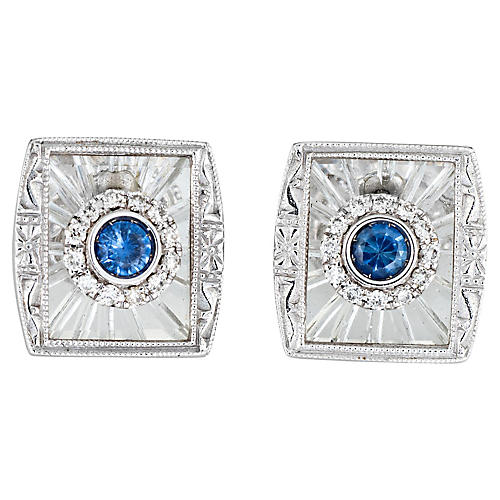 Diamond Sapphire Square Earrings
