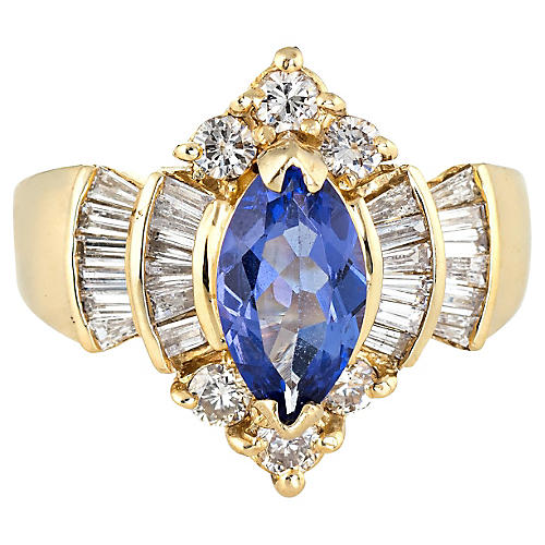 Marquise Tanzanite Diamond Ring