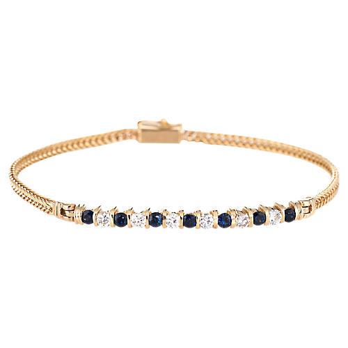 Sapphire & Diamond Line Bracelet