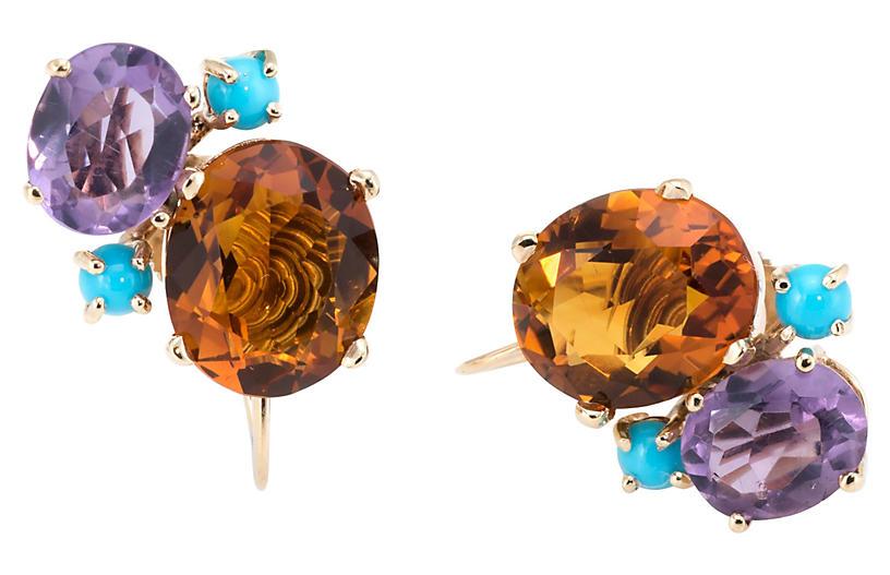 Gemstone Cluster Earrings 14k Gold