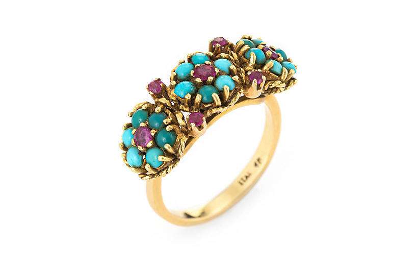 Turquoise Ruby Flower Ring