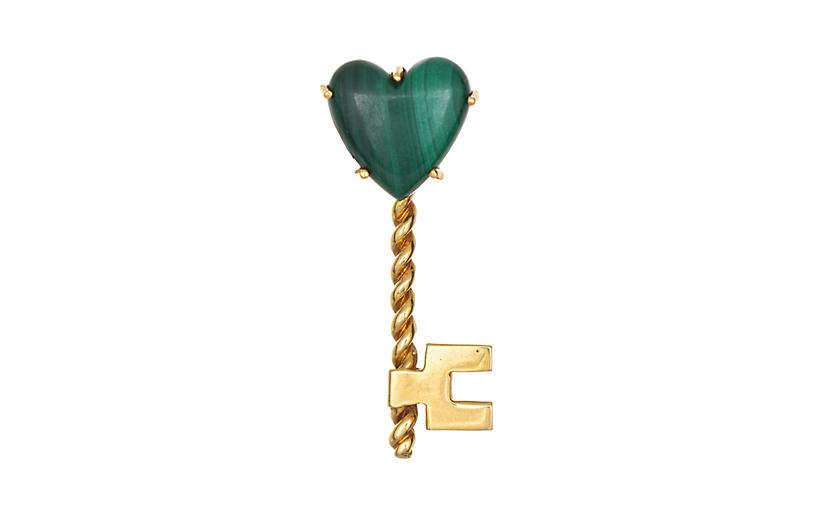 Hammerman Bros Heart Key Brooch 18k Gold