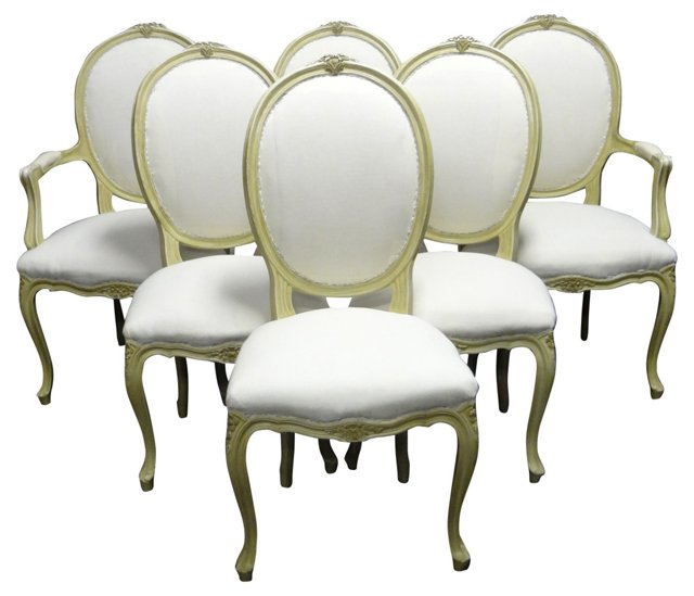 Swedish Rococo-Style Chairs, Set of 6