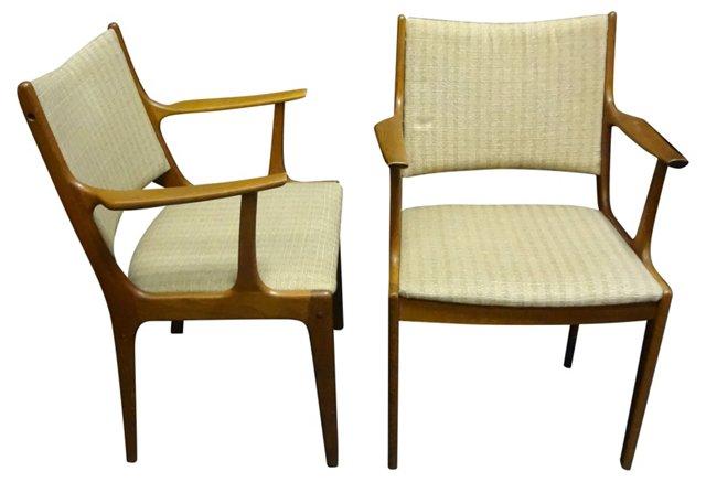 Danish Mid-Century Modern Chairs, Pair