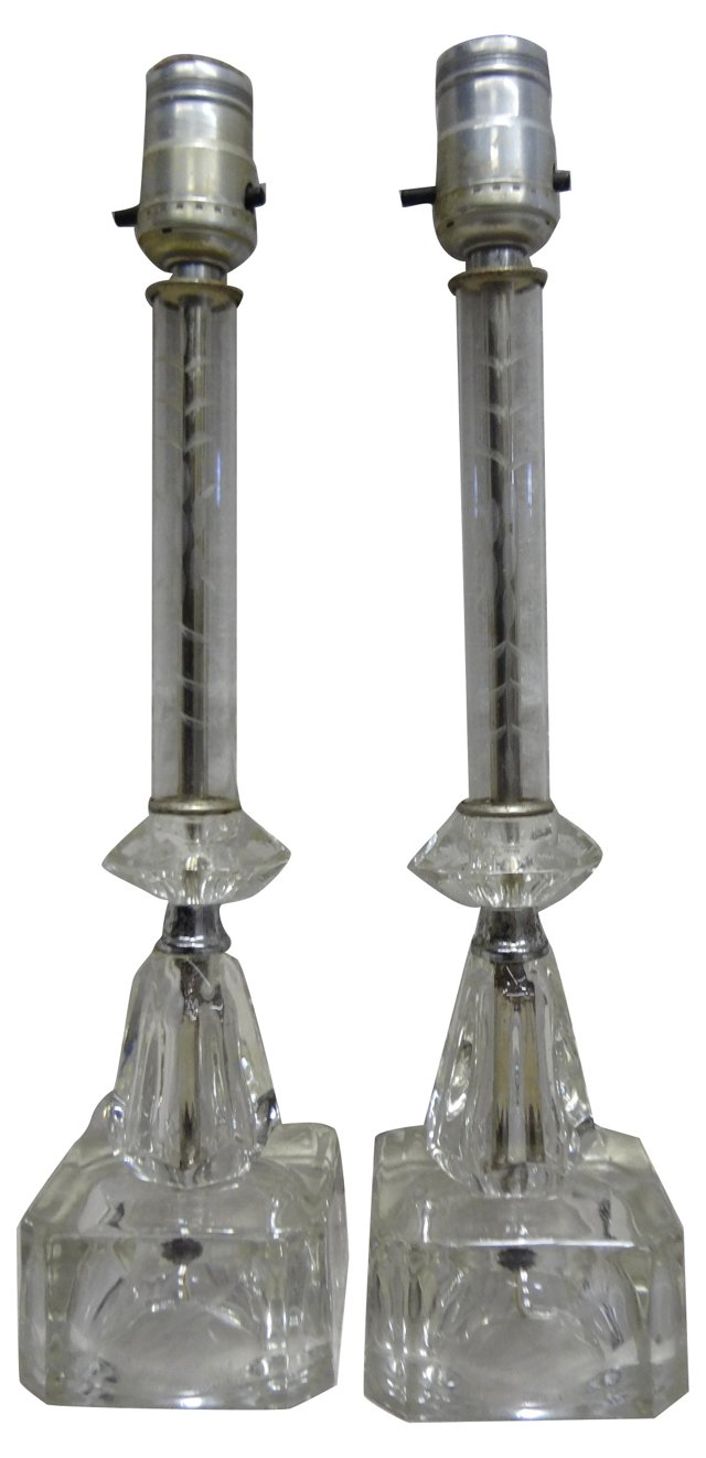 Engraved Lead Glass Lamps, Pair