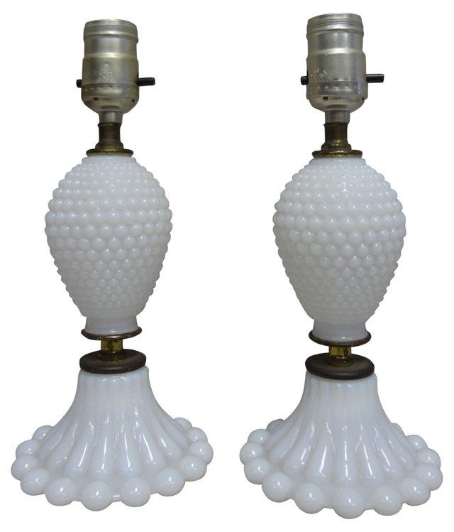 Milk Glass  Lamps, Pair