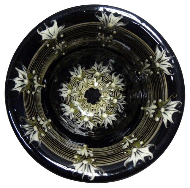 Deep Black Ceramic Flower Bowl