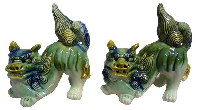 Multicolor Foo Dogs, Pair