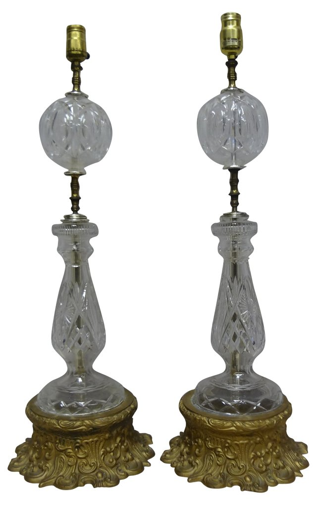 Glass & Brass  Lamps, Pair