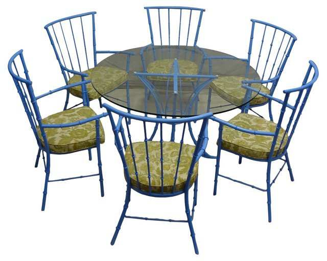 Bamboo-Style   Table & Chairs, S/7