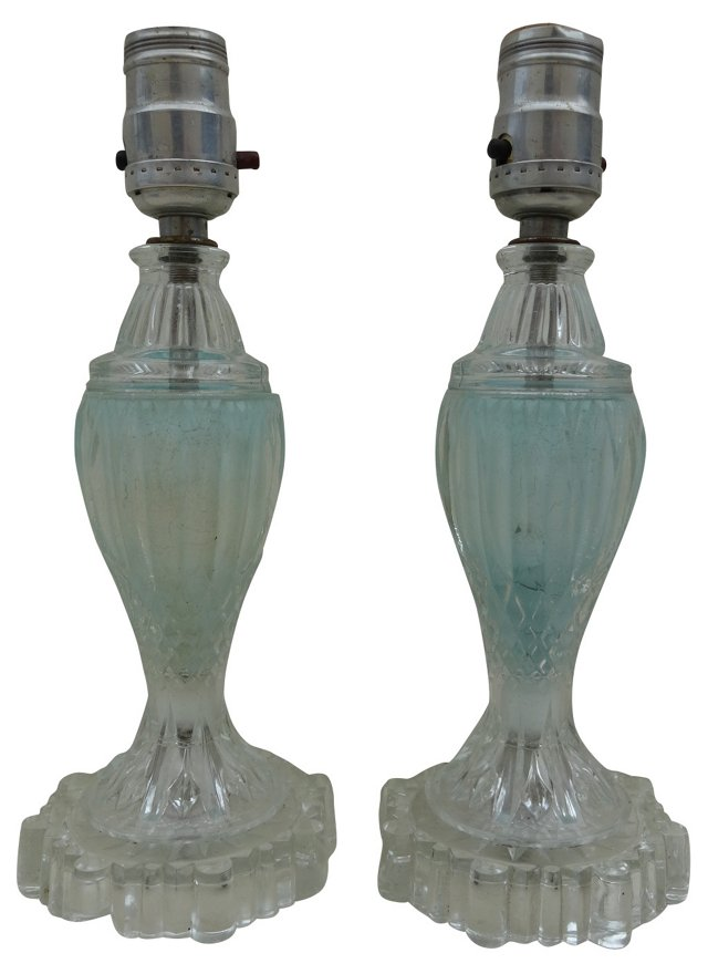 Blue  Glass Lamps, Pair