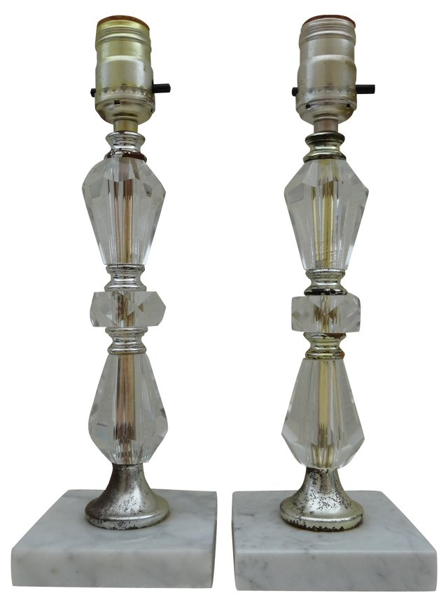 Marble & Glass Lamps, Pair