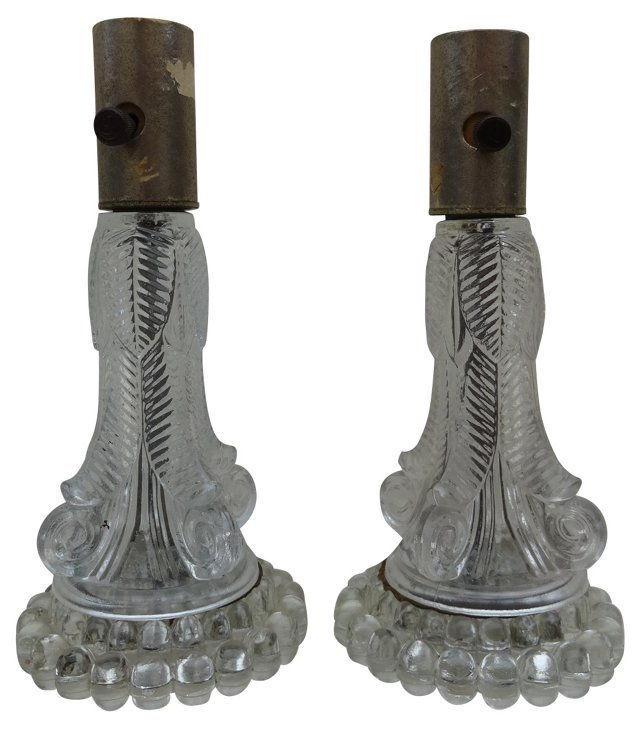 Floral Glass Lamps, Pair