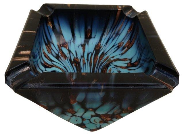 Handblown Art Glass Ashtray