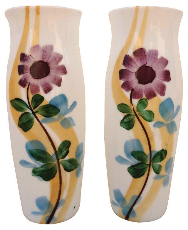 Handmade & Painted Vases, Pair