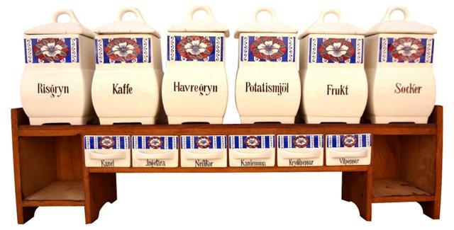 Swedish Spice Jars & Shelf, 13 Pcs