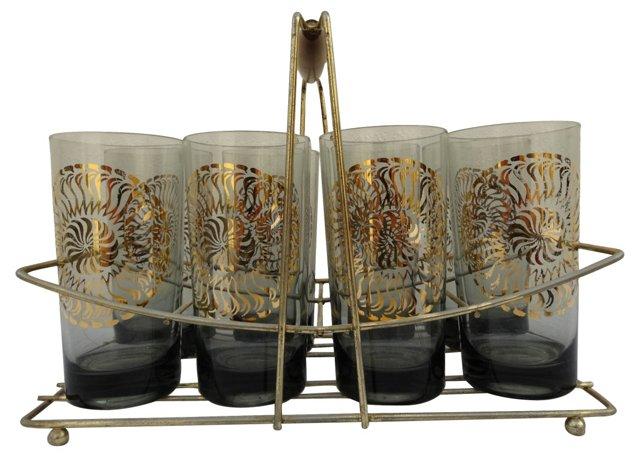 Highball     Glasses & Caddy, S/9