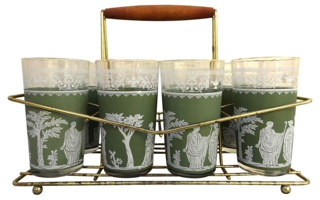 Green Hellenic Highball Glass Set, 9 Pcs
