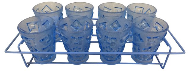 Blue Cocktail Glasses, S/9