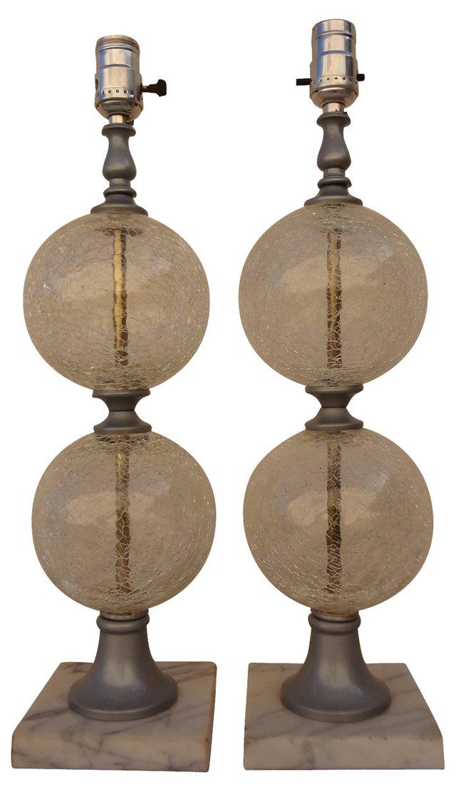 Dual-Globe Glass Lamps, Pair