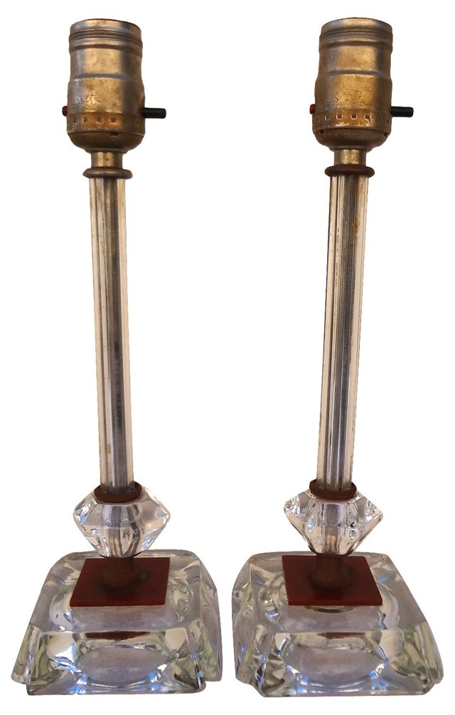 Glass Pedestal Lamps, Pair