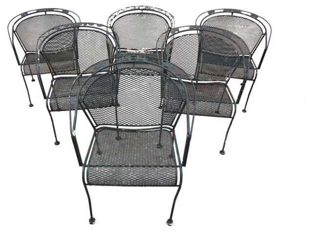 Wrought Iron Garden Chairs, S/6