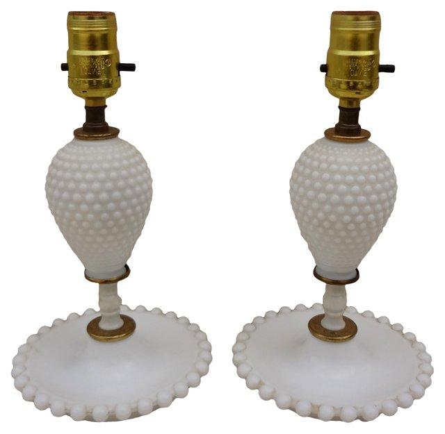 White Milk Glass   Lamps, Pair