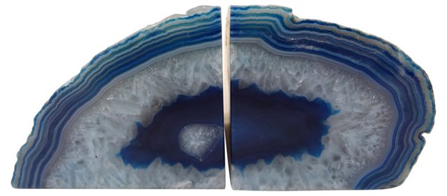 Blue Striped Geode       Bookends