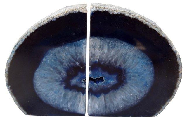 Blue     Vein Geode      Bookends