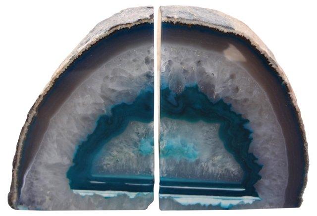 Light Blue Geode   Bookends