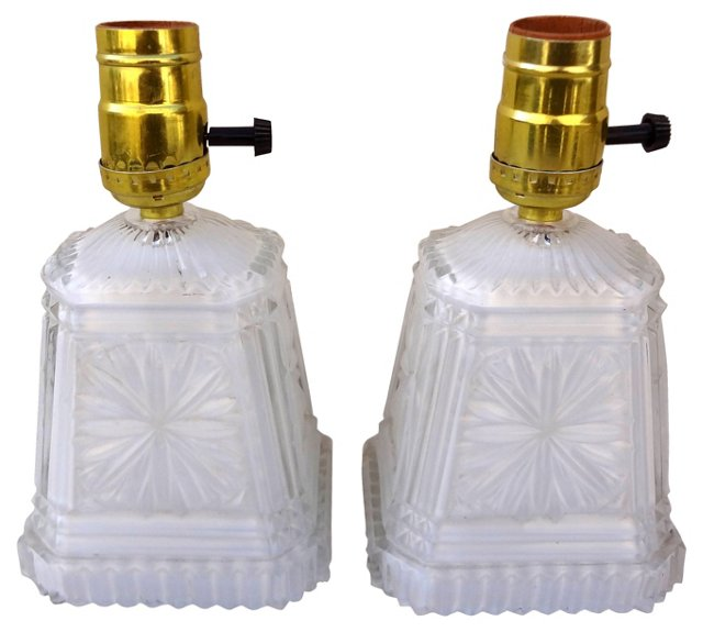 White Glass Lamps, Pair